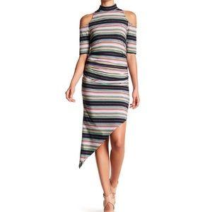 Nicole Miller Cold Shoulder Asymmetrical Dress